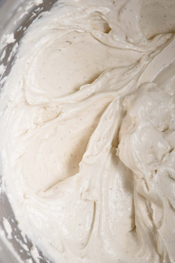 vegan ermine frosting in mixing bowl