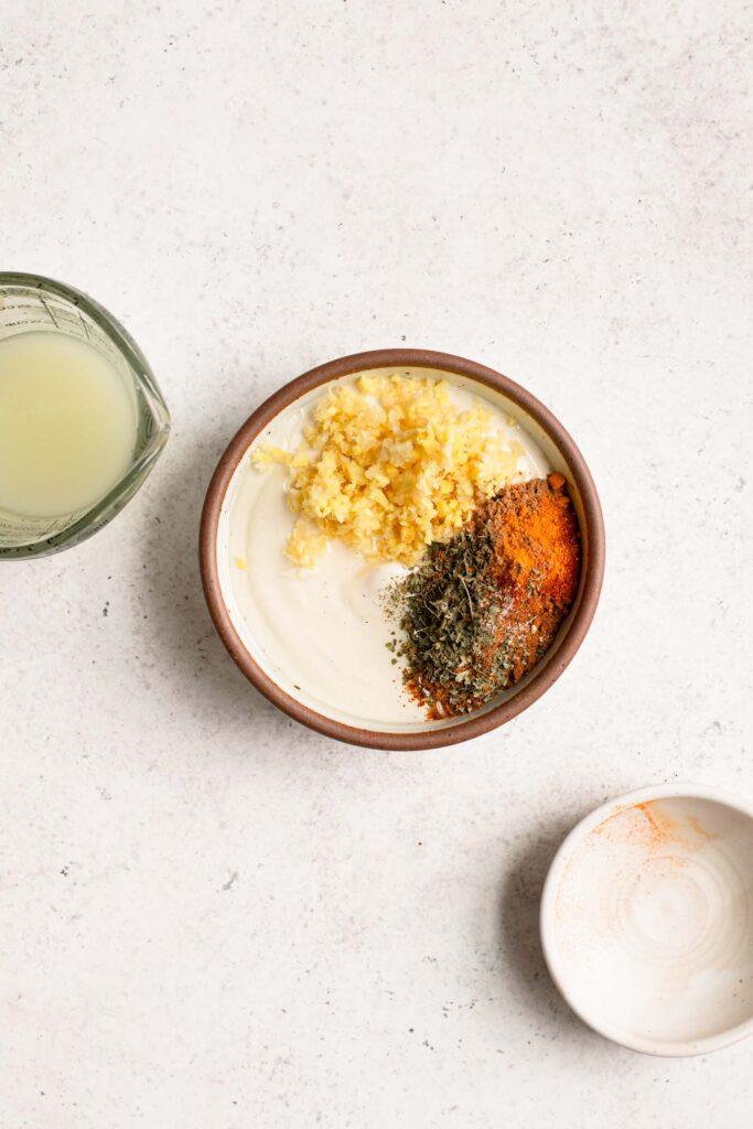 yogurt, spices, lime juice, and garlic for tandoori sauce