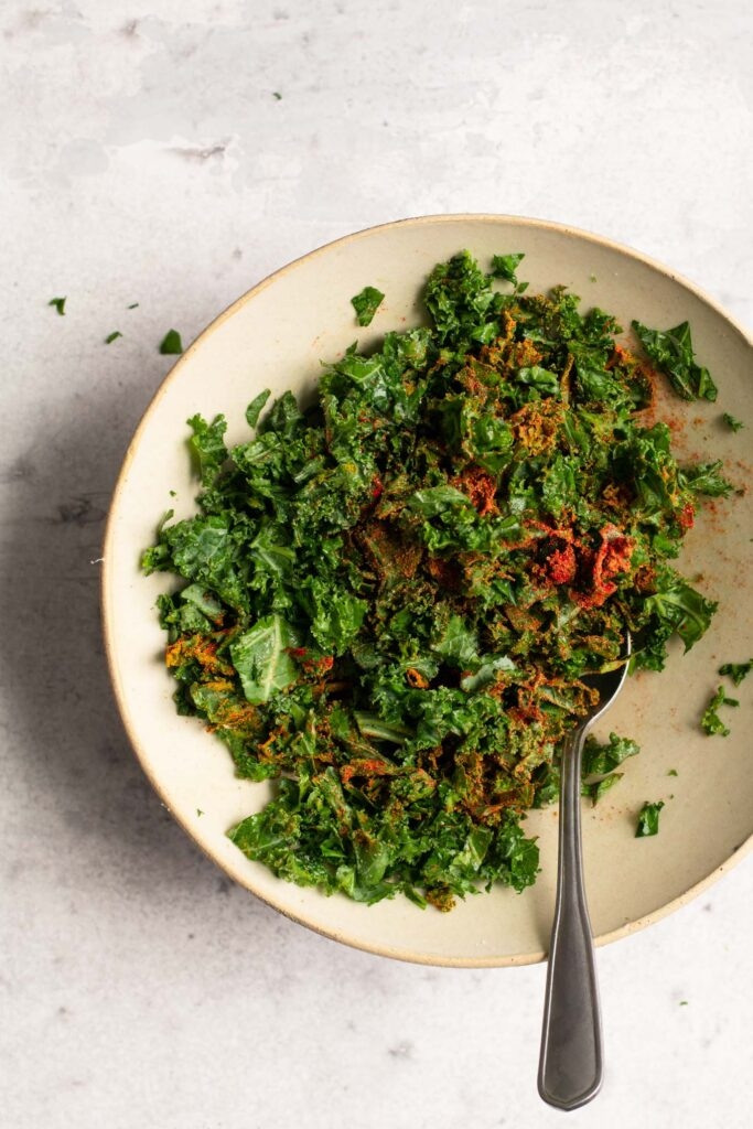 massaged kale with pakora spices mixed in