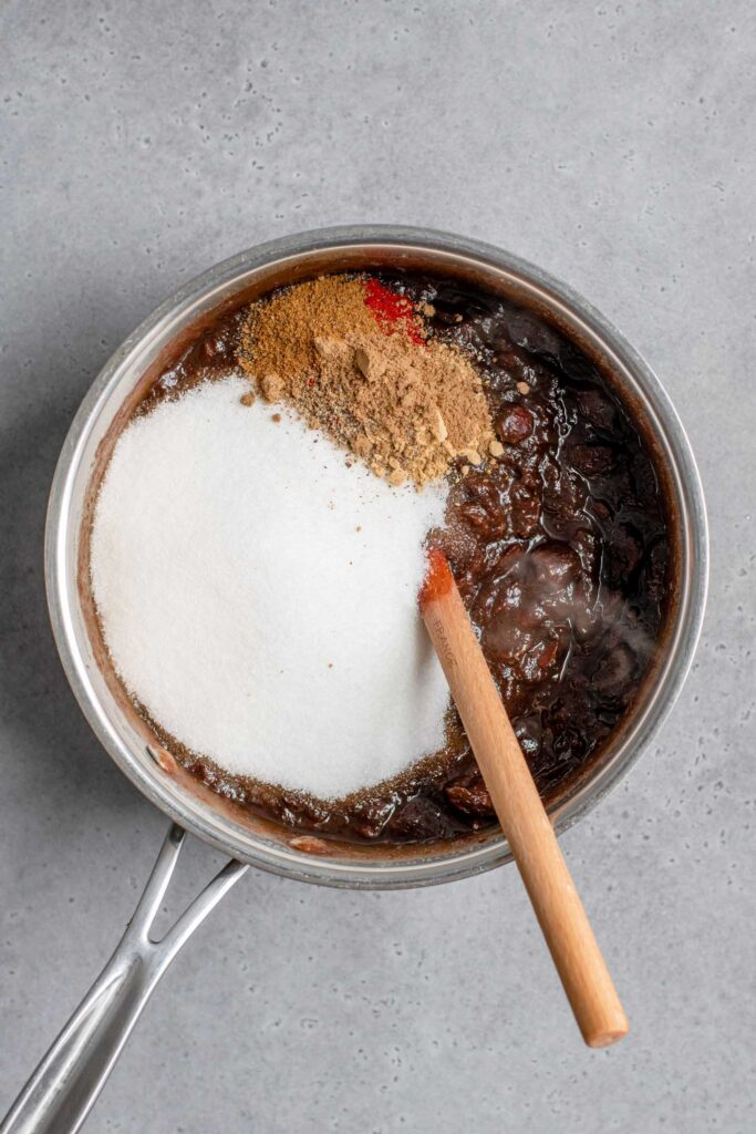 sugar and spices added to cooked and softened tamarind pulp