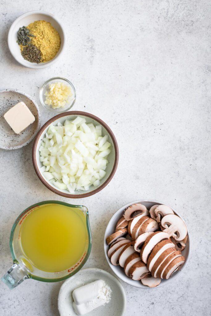 ingredients for creamy vegan gravy