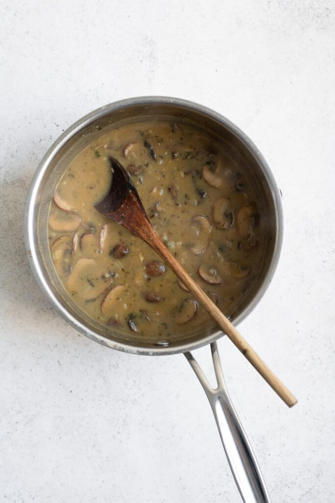 mushroom gravy in pot before blending