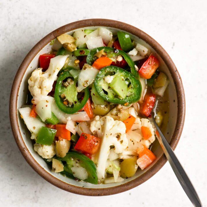 homemade hot giardiniera in a small bowl
