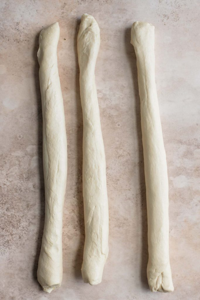 three strands of brioche dough