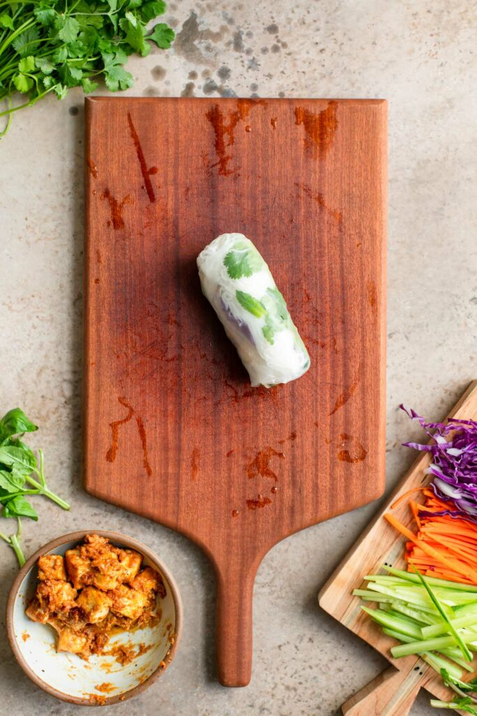 spring roll wrapped on cutting board