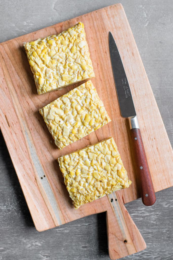 tempeh cut into thirds lengthwise