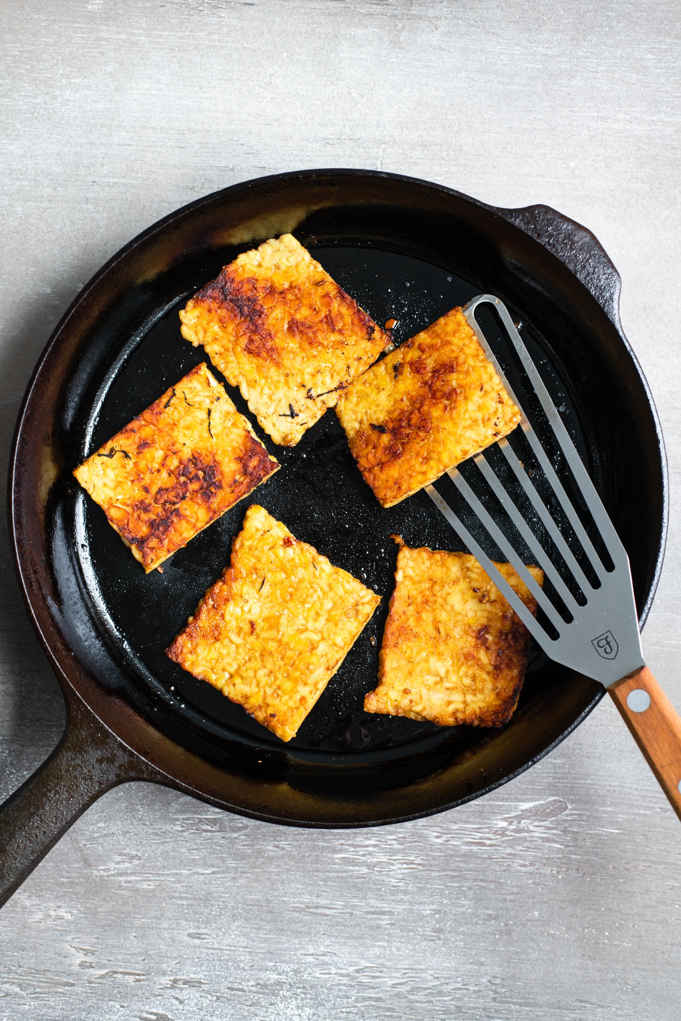 marinated corned tempeh in the skillet and browned