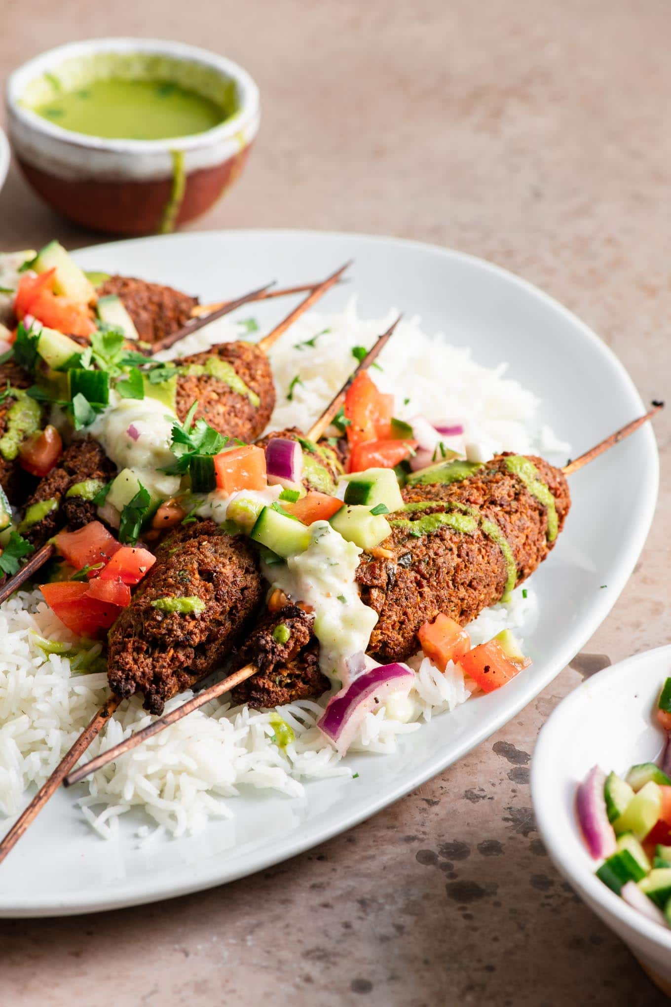 side view of plated kababs