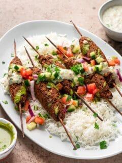 vegan Indian style sheekh kababs, served