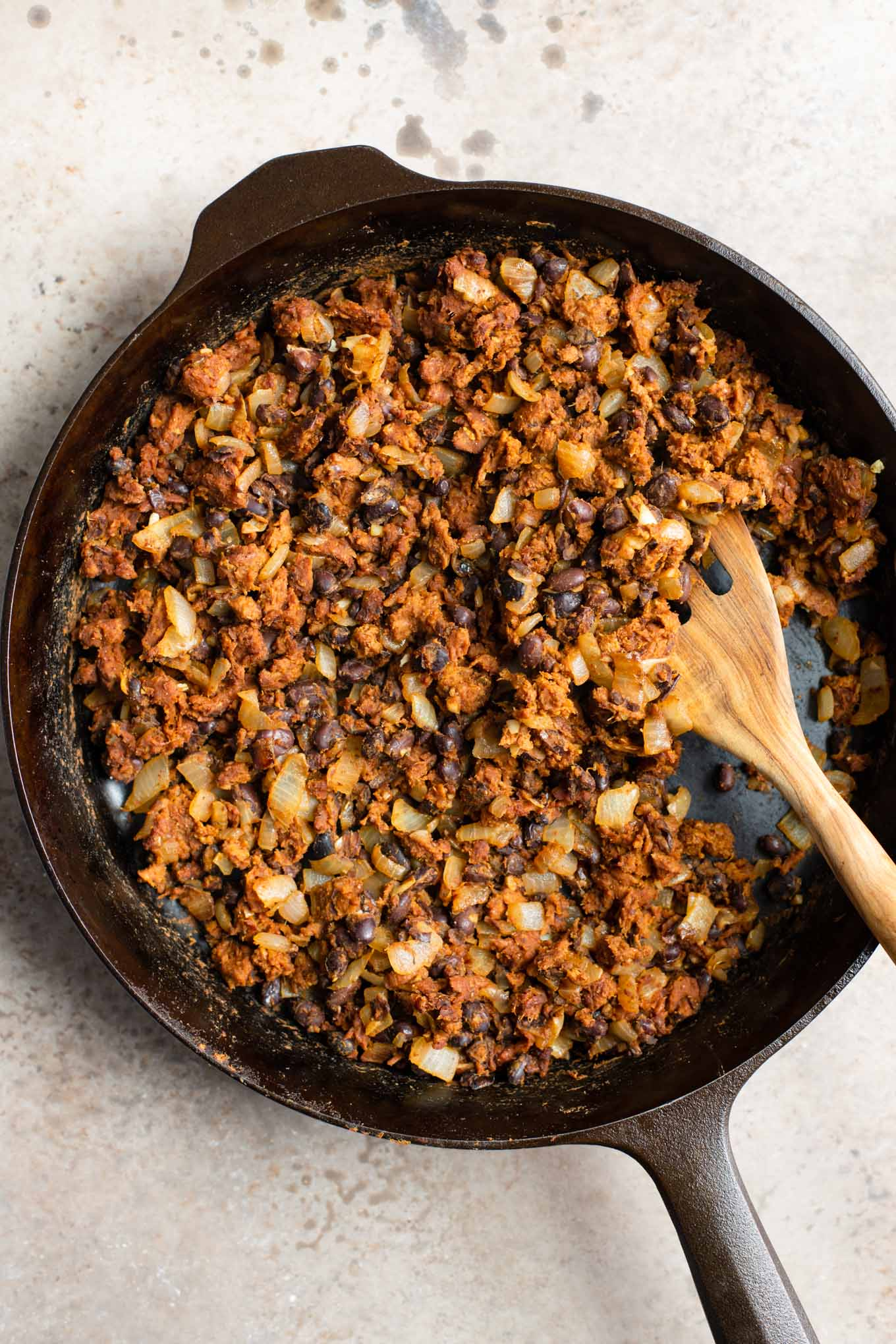black bean and vegan chorizo filling in a skillet
