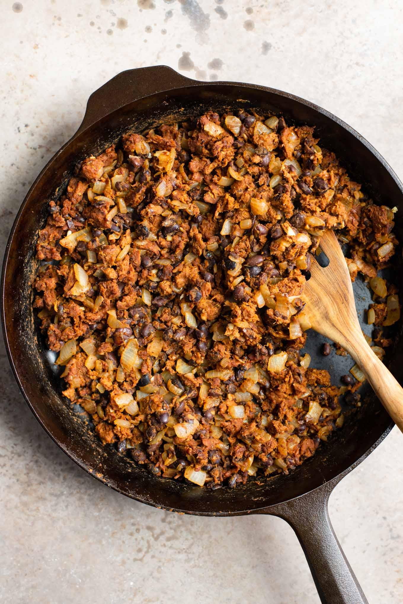 black bean and vegan chorizo filling in a skillet