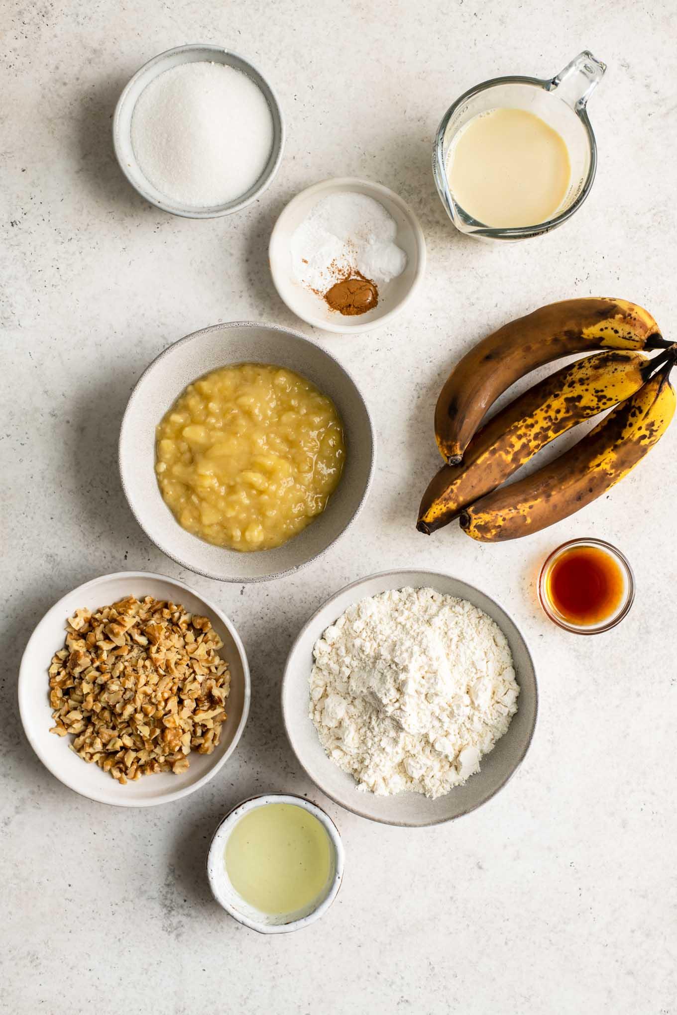 ingredients for vegan banana nut muffins