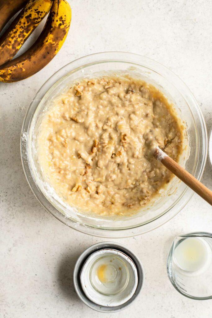 walnuts mixed into banana bread batter