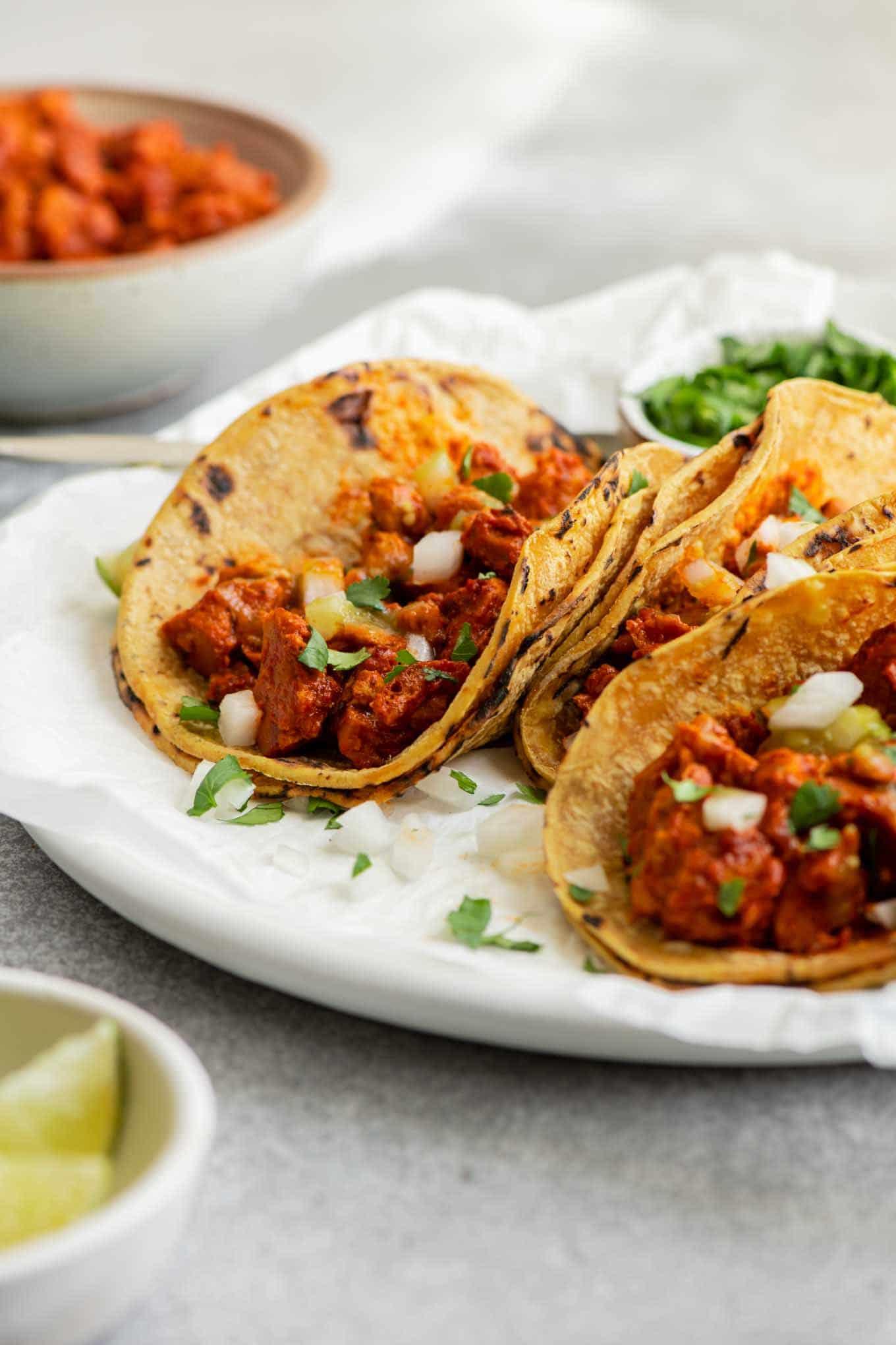 side view of vegan barbacoa tacos