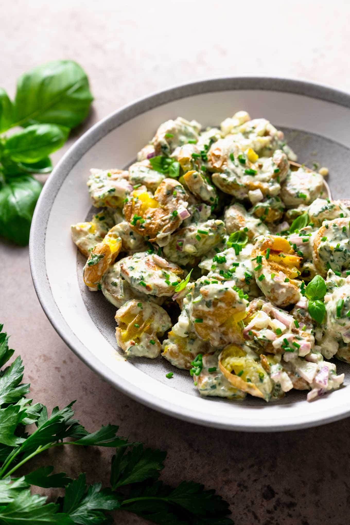 smashed potato salad with lemon herbed dressing