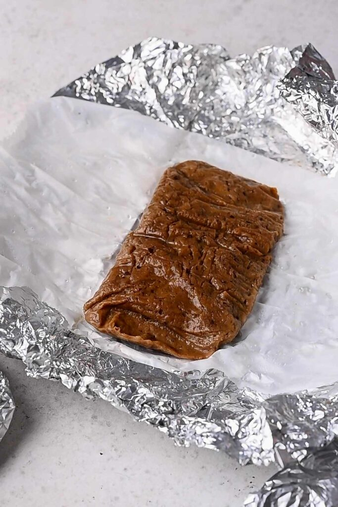 cooked seitan unwrapped from foil