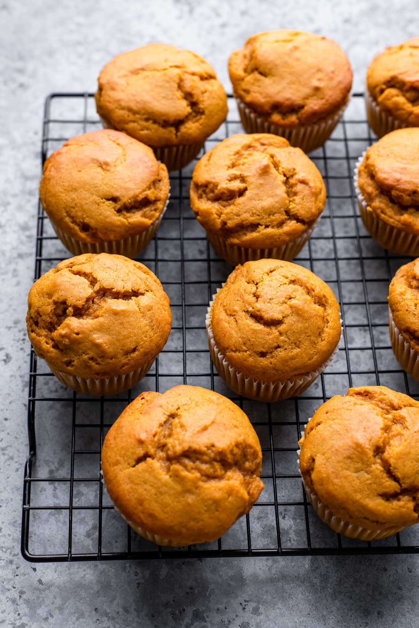 baked muffins on cooling rack