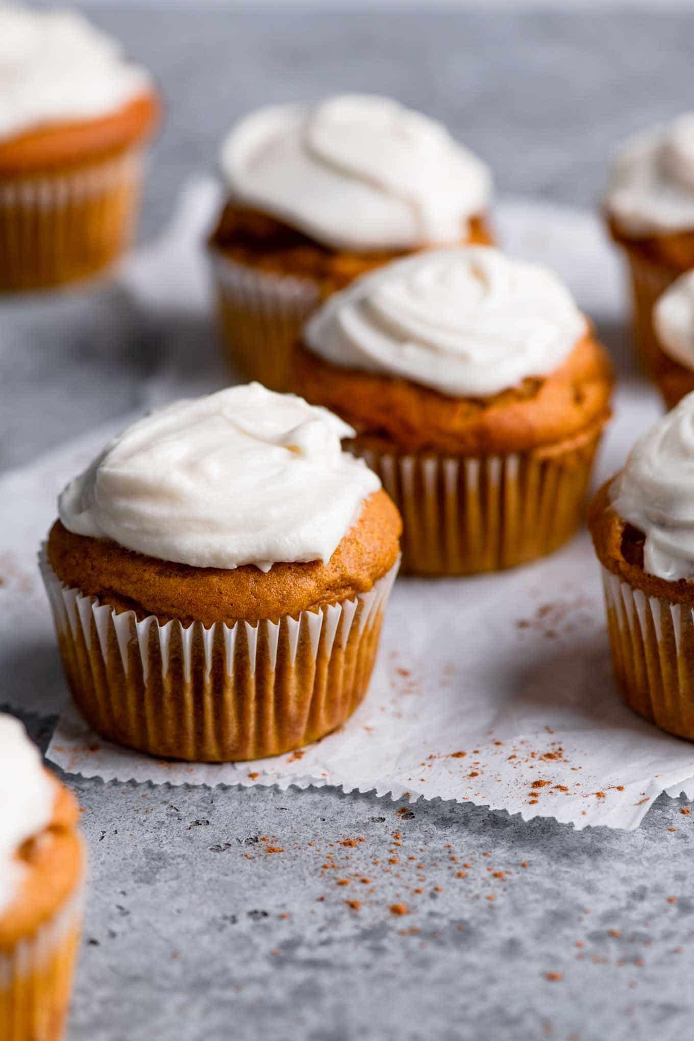 frosted vegan pumpkin muffins