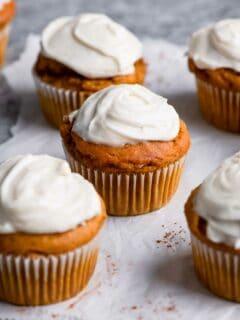 vegan pumpkin muffins with cream cheese frosting