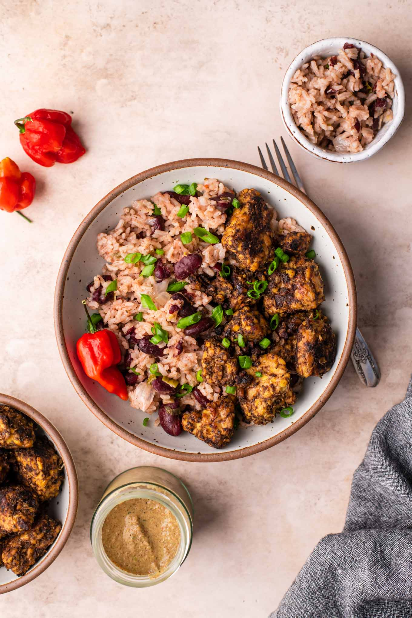 jerk tempeh served with red beans and rice