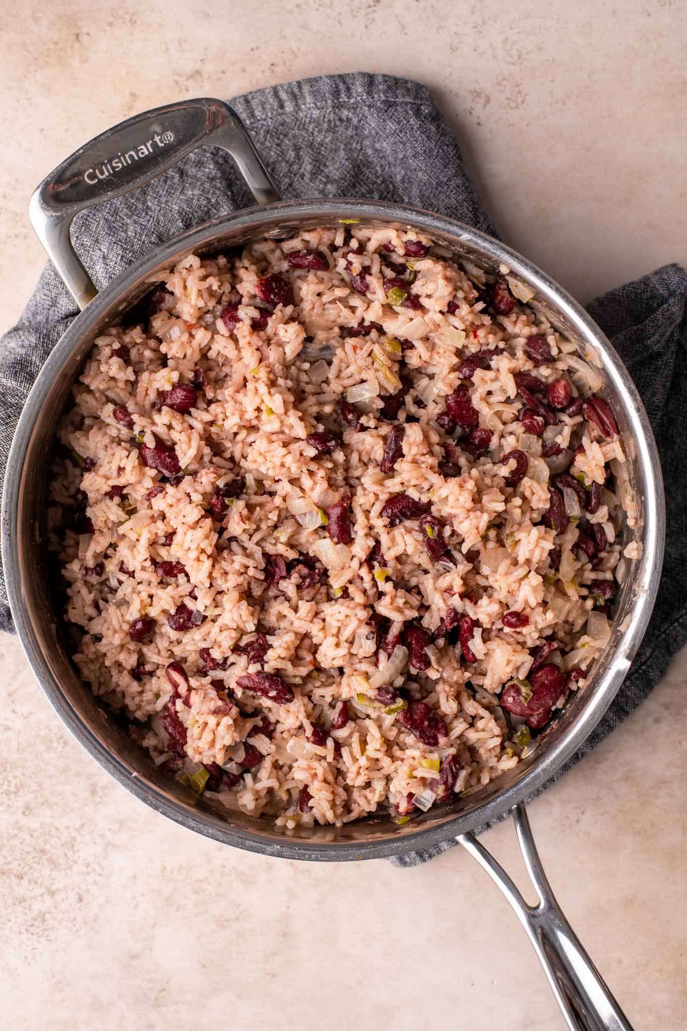 fluffed jamaican red rice and beans in a pot