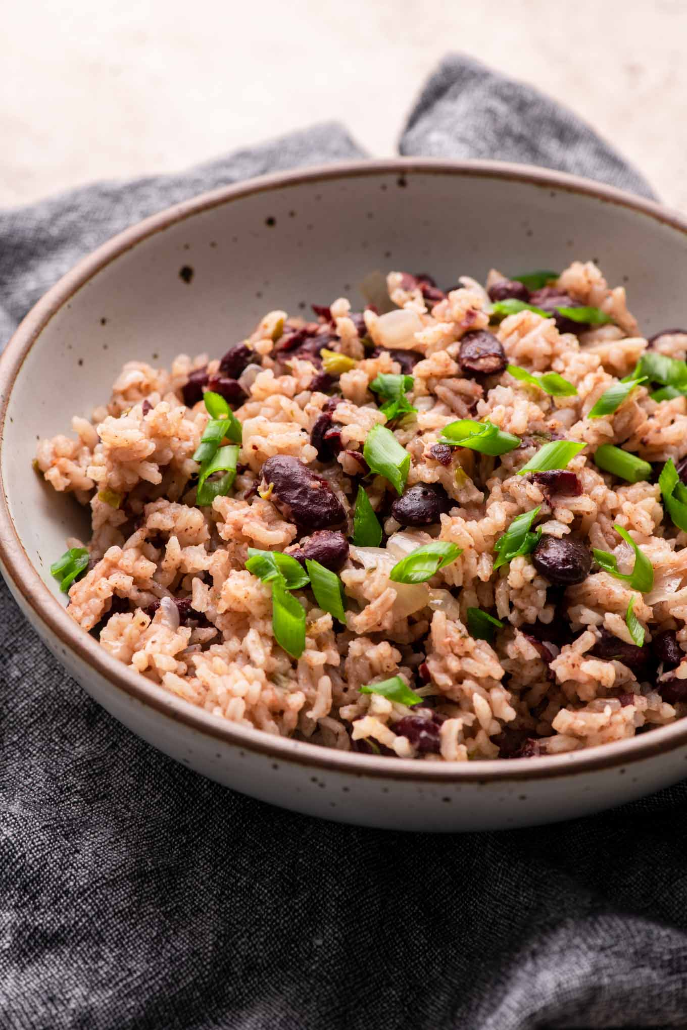 red beans and rice in a bowl, side angled shot
